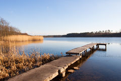 Lake in Poland. Slightly frozen in winter Royalty Free Stock Image