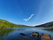 Lake in the Polish mountains on sunny day, Miedzybrodzie Bialskie, Poland stock image