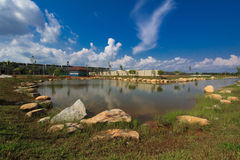 Lake   pond. Landscape    on    summer   day   with   water    reflection Royalty Free Stock Image
