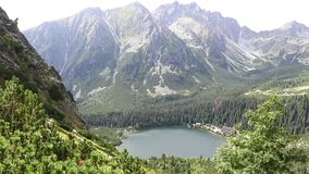 Lake Popradske pleso in High Tatras, Slovakia. Picturesque view during the trekking to Sedlo pod Ostrvou stock footage