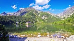 Lake Popradske pleso in High Tatras, Slovakia stock video footage