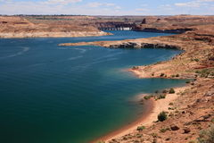 Lake Powell. Is a reservoir on the Colorado River, straddling the border between Utah and Arizona (most of it, along with Rainbow Bridge, is in Utah). It is a Royalty Free Stock Images