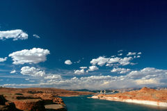 LAKE POWELL. Glen Canyon Dam in Arizona, with Lake Powell Stock Photography