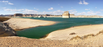 Lake Powell,  Arizona, United States. The Lake Powell in desert landscape, panoramic view, Arizona Royalty Free Stock Photography