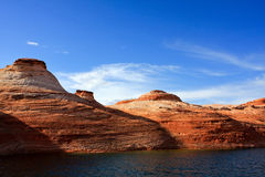 Lake Powell. Closer view of layers of sandstones by boat tour in Lake Powell, Utah Stock Images