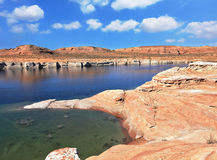 The  Lake Powell in the  desert of California Stock Photos