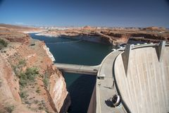 Lake Powell and the Glen Canyon Dam from the Carl Hayden Visitor Centre. Glen Canyon Dam bridge Page Arizona over the Colorado river. Glen Canyon Dam is a royalty free stock images
