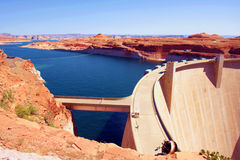 Lake Powell and Glen Canyon Dam in the Desert of Arizona,United States Royalty Free Stock Photography