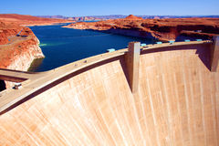 Lake Powell and Glen Canyon Dam in the Desert of Arizona,United States. Lake Powell and Glen Canyon Dam in the Desert of Arizona,USA Royalty Free Stock Photos