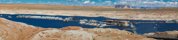 Lake Powell houseboat marina - panorama Stock Photography