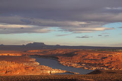 Lake Powell in the last rays of the sun Royalty Free Stock Photos