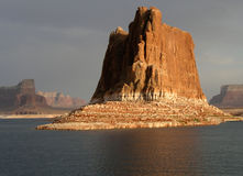 Lake Powell monolith. Monolith is a stark contrast to Lake Powell Stock Photography
