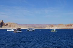 Lake Powell in the morning. Landscape with boats, Lake Powell, AZ Stock Photo