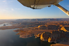 Lake Powell photographed from the plane. Royalty Free Stock Photo