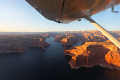 The lake Powell from the plane on a sunset Stock Image