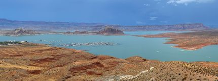 Lake Powell in Arizona in United States. Lake Powell is a reservoir on the Colorado River, straddling the border between Utah and Arizona Royalty Free Stock Photos