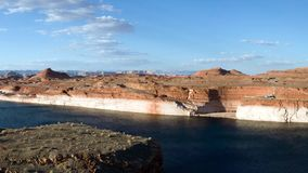 Lake Powell Reservoir Dam Panorama Utah and Arizona stock footage