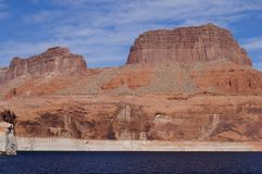 Lake Powell. Shoreline - a view from water in a bright sunny day Royalty Free Stock Photo