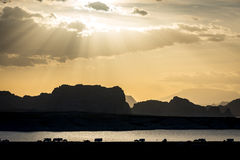 Lake Powell silhouette sunset Royalty Free Stock Photo