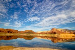 Lake Powell, Water reflection of the Sky. stock images