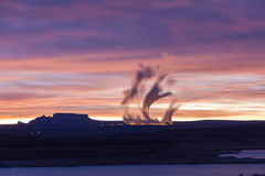 Lake Powell at sunrise, clouds and Navajo power station Stock Images