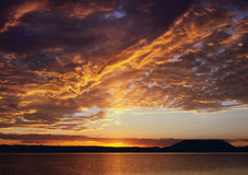 Lake Powell Sunset. Beautiful classic sunset or sunrise over hills and lake Stock Images