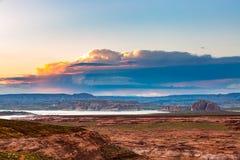 Lake Powell Sunset Panorama Stock Photo