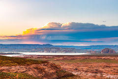 Lake Powell Sunset Panorama Royalty Free Stock Photography