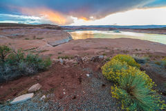 Lake Powell at Sunset Taken From Halls Crossing Stock Photo