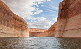 Lake Powell Twisting through Canyons Royalty Free Stock Photo