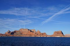 Lake Powell, USA. Lake Powell shoreline - a view from water in a bright sunny day Stock Image
