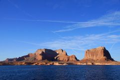 Lake Powell, USA. Lake Powell shoreline - a view from water in a bright sunny day Royalty Free Stock Photo