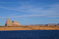 Lake Powell, USA. Lake Powell shoreline - a view from water in a bright sunny day Royalty Free Stock Photos