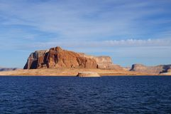 Lake Powell, USA. Lake Powell shoreline - a view from water in a bright sunny day Royalty Free Stock Images
