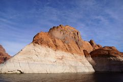 Lake Powell, USA. Lake Powell shoreline - a view from water in a bright sunny day Stock Photos