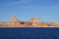 Lake Powell, USA. Lake Powell shoreline - a view from water in a bright sunny day Royalty Free Stock Photography