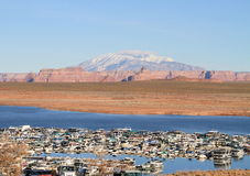 USA, AZ/Lake Powell:Wahweap Marina/Navajo Mountain Royalty Free Stock Photo
