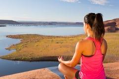 Lake Powell Yoga and Girl Royalty Free Stock Photography