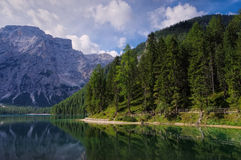 Lake Prags in Alps Stock Photography
