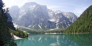 Lake Prags with Seekofel, Royalty Free Stock Photography