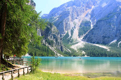 Lake prags in tyrol Stock Photos