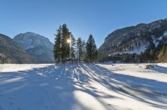 The lake of Predil Raibl covered by the snow. The iced alpine lake of Predil & x28;Raibl& x29; fully covered by the snow Royalty Free Stock Image