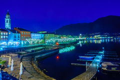 The lake promenade Piazza Mota, Ascona Royalty Free Stock Image