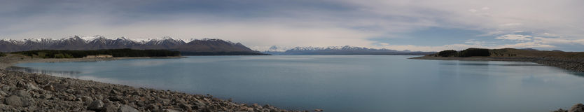 Lake Pukaki. Panoramic view of Lake Pukaki, South Island, New Zealand Royalty Free Stock Image