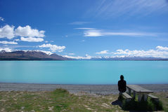 Lake Pukaki i New Zealand Arkivfoto