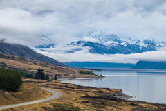 Lake Punkaki near Aoraki/Mt.Cook national park, New Zealand. Lake Pukaki is the largest of three roughly parallel alpine lakes running north-south along the Stock Photos