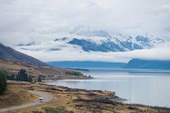Lake Punkaki near Aoraki/Mt.Cook national park, New Zealand. Lake Pukaki is the largest of three roughly parallel alpine lakes running north-south along the Royalty Free Stock Photography
