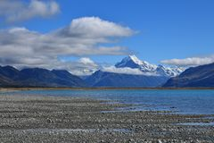 Lake Pukaki and Mt Cook Stock Photography