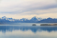 Lake Pukaki, New Zealand. Lake Pukaki, the scenic of lake with Mount Cook on background Stock Photos