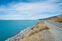 Lake Pukaki from Sideways Road to Aoraki Mount Cook Stock Image